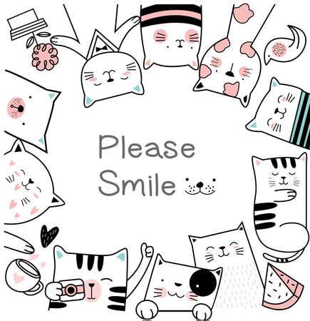 Cute baby cat cartoon hand drawn style for printing,card, t shirt, banner Фото со стока - 118379774