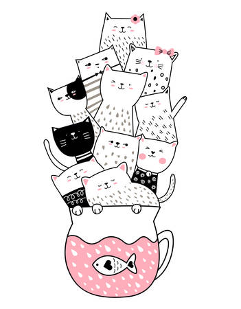 Cute baby cat with cup  hand drawn style for printing,banner, t shirt