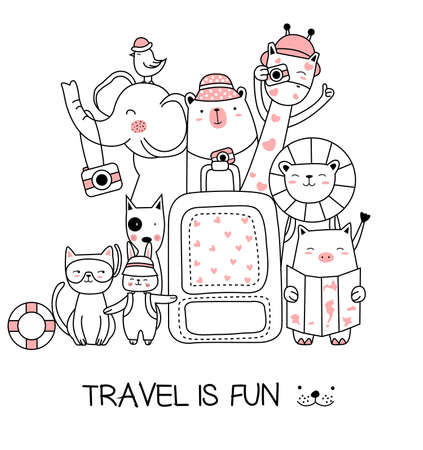 Cute baby animal with travel cartoon hand drawn style,for printing, t shirt, banner
