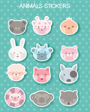 face animal sticker for printing, package,brand,product,t shirt.vector illustration Фото со стока - 118380324