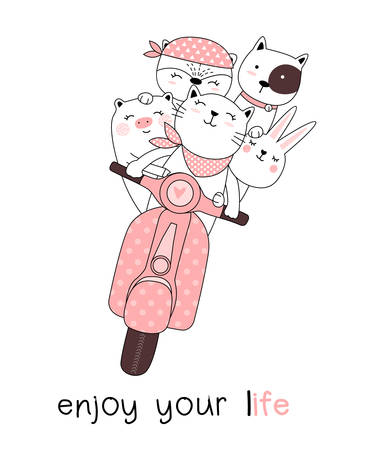 Cute baby animals with  motorcycles cartoon hand drawn style,for printing,card, t shirt,banner,product.vector illustartion