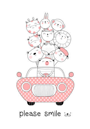 Cute baby animals with car cartoon hand drawn style,for printing,card, t shirt,banner,product.vector illustartion Иллюстрация