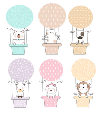 Cute baby animal cartoon with balloon cartoon hand drawn style,for printing,card, t shirt,banner,product.vector illustration