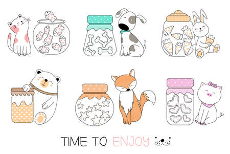 Cute baby animal with candy cartoon hand drawn style,for printing,card, t shirt,banner,product.vector illustration