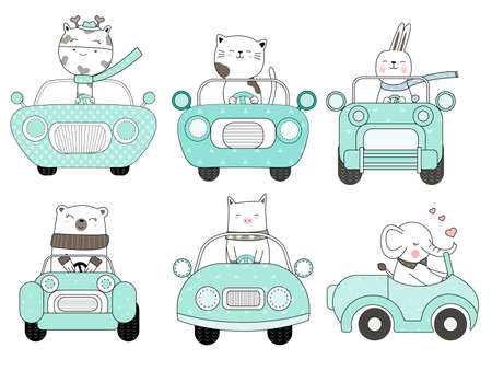 Cute baby animal with car cartoon hand drawn style,for printing,card, t shirt,banner,product.vector illustration