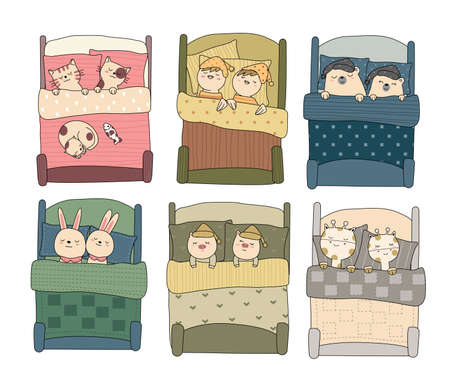 Cute baby animal with bed hand drawn style,for printing,card, t shirt,banner,product.vector illustration  イラスト・ベクター素材
