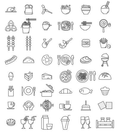 vector food icon set for resturant,banner,logo,printing,business card.vector illustration Çizim