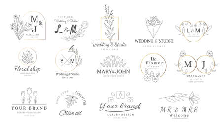 Premium floral logo templates for wedding,logo,banner,badge,printing,product,package.vector illustration  イラスト・ベクター素材