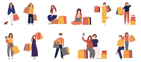 man and women shopping with bag,cartoon flat icon style for shopping online,internet,app,printing,advertising,banner,brand,badge,vector illustration Çizim