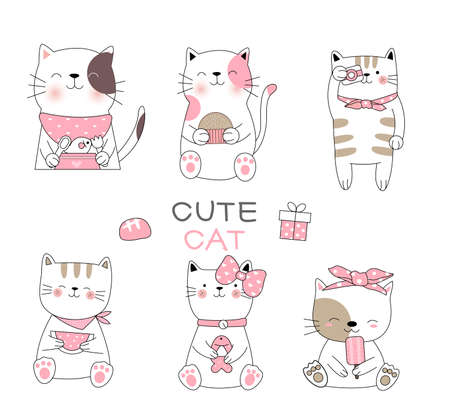 Cute baby cat cartoon hand drawn style,for printing,card, t shirt,banner,product.vector illustration  イラスト・ベクター素材
