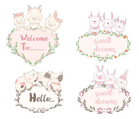 Cute baby animal with flower frame cartoon hand drawn style,for printing,card, t shirt,banner,product.vector illustration Çizim