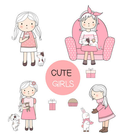 Cute baby girls cartoon hand drawn style,for printing,card, t shirt,banner,product.vector illustration