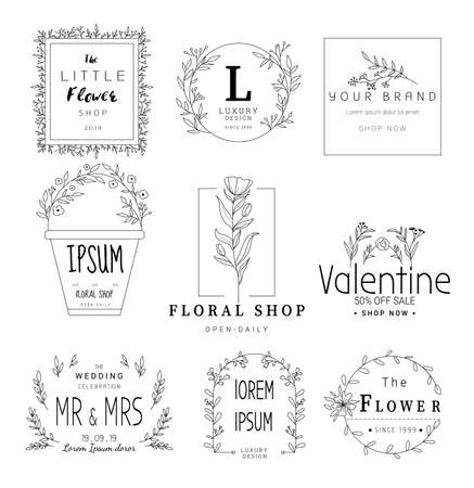 Floral frame set for wedding, flower shop,for printing,card,banner,product.vector illustration