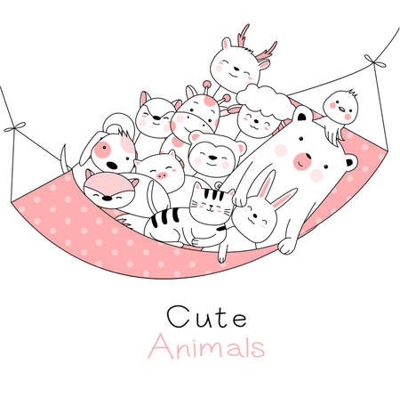 Cute baby animals cartoon hand drawn style,for printing,card, t shirt,banner,product.vector illustration Çizim