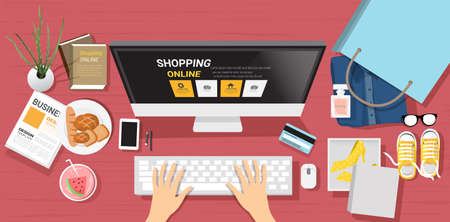 top view shoping online with notebook for website,app,supermaket product,printing,baner.vector illustration