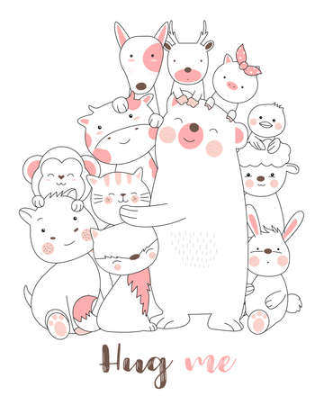 Cute baby animals cartoon hand drawn style,for printing,card, t shirt,banner,product.vector illustration  イラスト・ベクター素材