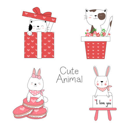 Cute baby animals with flower,gift box, cartoon hand drawn style,for printing,card, t shirt,banner,product.vector illustration