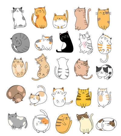 Cute baby cats cartoon hand drawn style,for printing,card, t shirt,banner,product.vector illustration Çizim