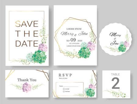 Set of Wedding invitation Card,save the date thank you card,rsvp with floral   and leaves, gold border, watercolor style for printing, badge.vector illustration Çizim
