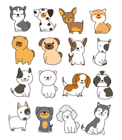 Cute dog collection hand drawn style for printing greeting card, badge, happy birthday, t shirt, banner, product. vector illustration