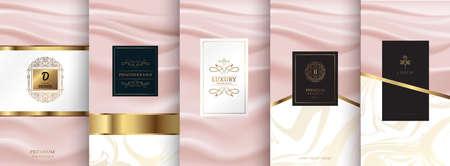 Collection d'éléments de conception pour l'emballage, conception de produits de luxe. pour parfum, savon, vin, lotion. Fabriqué avec isolé sur fond rose. illustration vectorielle Vecteurs
