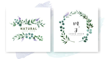 Set of Wedding invitation Card, save the date thank you card, rsvp with floral   and leaves,  watercolour style for printing, badge. vector illustration