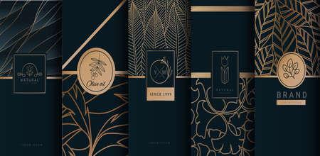 Collection d'éléments de conception de produits de luxe. Fabriqué avec isolé sur fond noir. illustration vectorielle Vecteurs