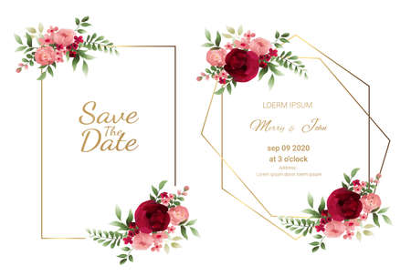 Set of Wedding invitation Card,save the date thank you card,rsvp with floral   and leaves, gold border, watercolor style for printing, badge.vector illustration Фото со стока - 131602606