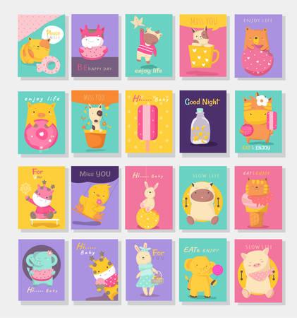 Cute baby animal card cartoon hand drawn style