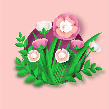 flower paper art wedding card banner.vector illustrartion