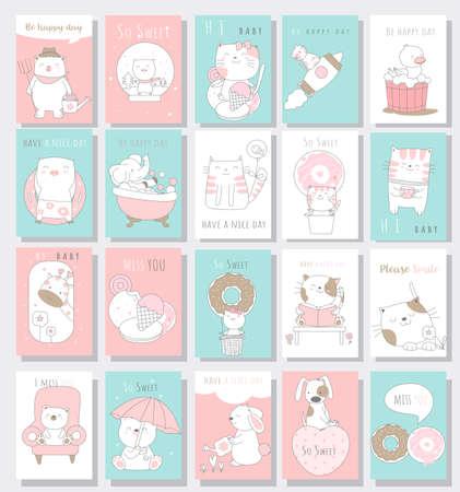 Cute baby animal card cartoon hand drawn style.vector illustration Vectores