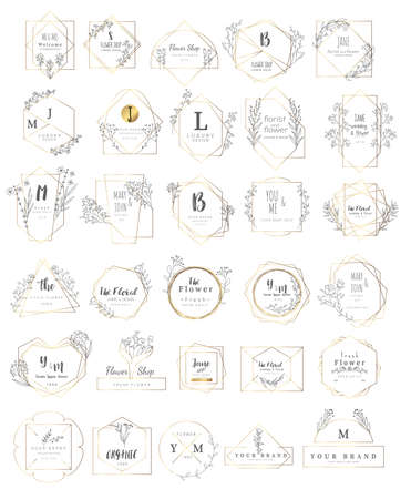Logo for wedding, luxury banner, badge, printing, product, package. vector illustration