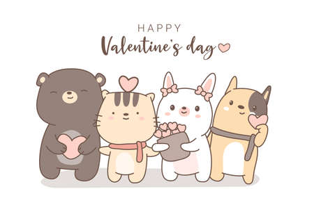 happy valentines day with cute animal cartoon hand drawn style.vector illustration