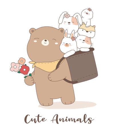 Cute baby animal cartoon hand drawn style for printing, card.vector illustration Иллюстрация