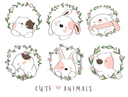 Cute baby animal with flower border cartoon hand drawn style Vectores