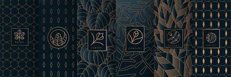 Sammlung von Designelementen, Etiketten, Symbolen, Rahmen, für Logo, Verpackung, Design von Luxusprodukten. für Parfüm, Seife, Wein, Lotion. Hergestellt mit isoliert auf schwarzem Hintergrund. Vektorillustration