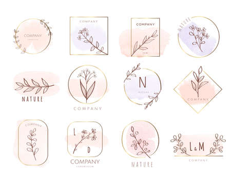 Set of hand drawn watercolor labels and badges for printing, product, vector illustration Иллюстрация
