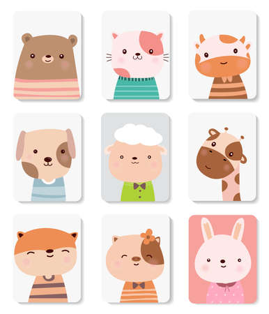 Cute baby animal cartoon vector illustration