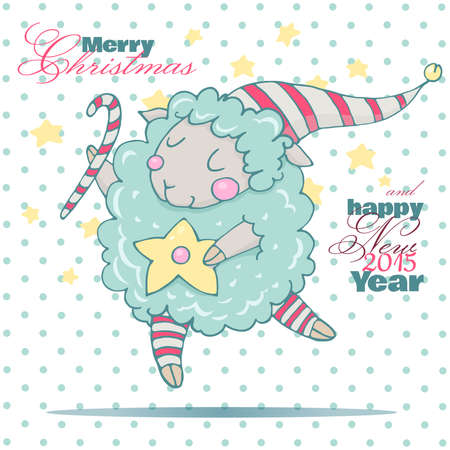 Cute cartoon sheep . Cute New Year sheep. Dreamy sheep with a heart. New year card with sheep. Children picture in pastel colors. Vector
