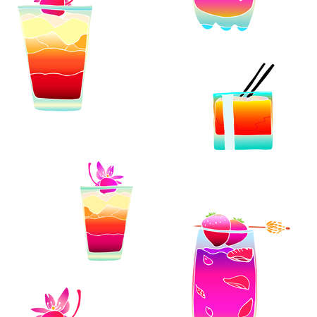 daiquiri: Seamless pattern with colorful cocktails with ice and strawberries. Cocktail with a cherry.