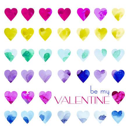 Vetor 水彩心のセットです。カラフルな心はがき、広告、バナー、ウェブサイト、おめでとうございます。バレンタインの日のための心。 写真素材