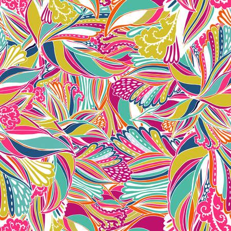 抽象的な花とのシームレスなテクスチャをベクトルします。無限の背景。民族のシームレスなパターン。ベクトルの背景。明るいパターン。壁紙パ  イラスト・ベクター素材
