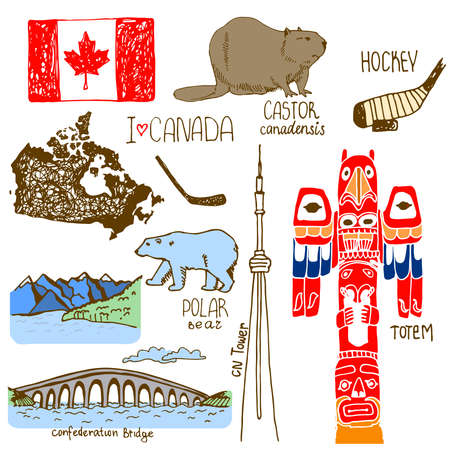 canada aboriginal: Hand drawn symbols of Canada. Illustration