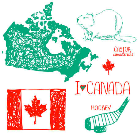 Canada. Hand drawn symbols of Canada. Flag of Canada. The contour of the country. Hockey. Beaver - symbol of Canada. I love Canada. Vector