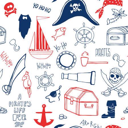 海賊要素とのシームレスなパターン。海賊スタイルのパーティー。手の描かれた海賊要素。