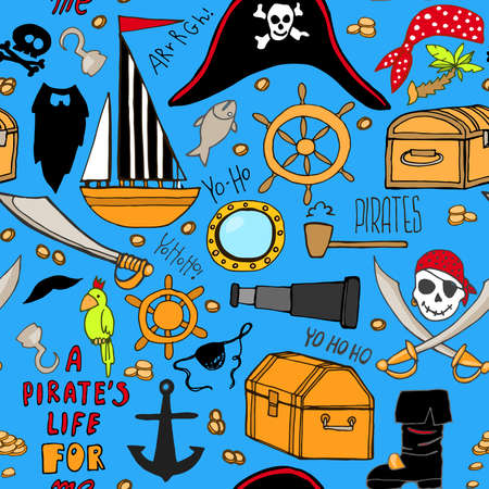 Seamless pattern with pirate elements. A party in a pirate style. Hand drawn pirate elements. Vector