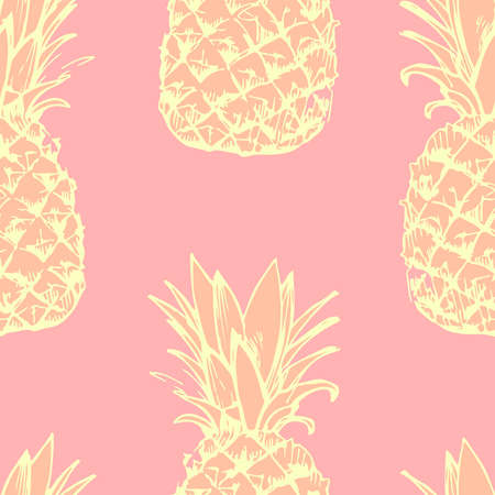 手描きのパイナップルとのシームレスなパターン