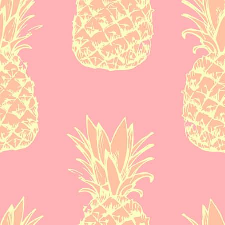 Naadloze patroon met de hand beschilderd ananas