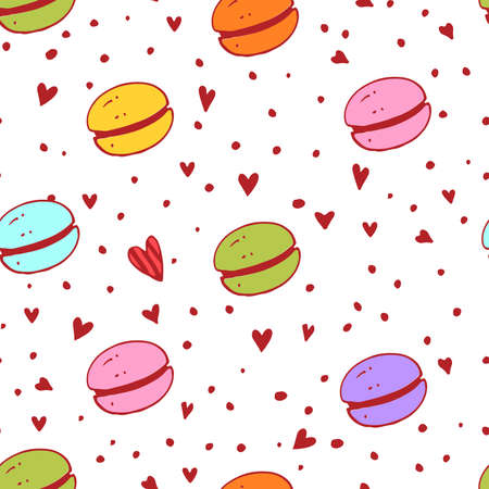macaroon: Macaroon pattern with different colors. Bright and tasty illustration. Beautiful background for packaging, fabric, wallpaper.