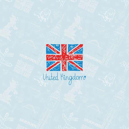英国の旗 - 異なるシンボル英国の背景に。手描きのスケッチ。包装設計、紅茶、および国の装飾。